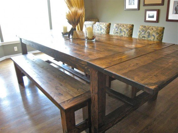 How to build a dining room table 13 diy plans guide for Farmhouse dining table