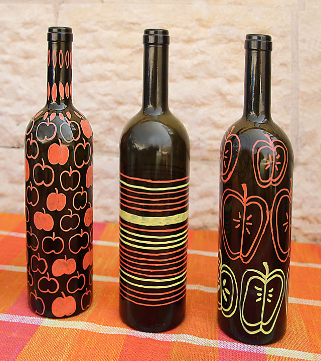 10 painted wine bottles with how tos guide patterns