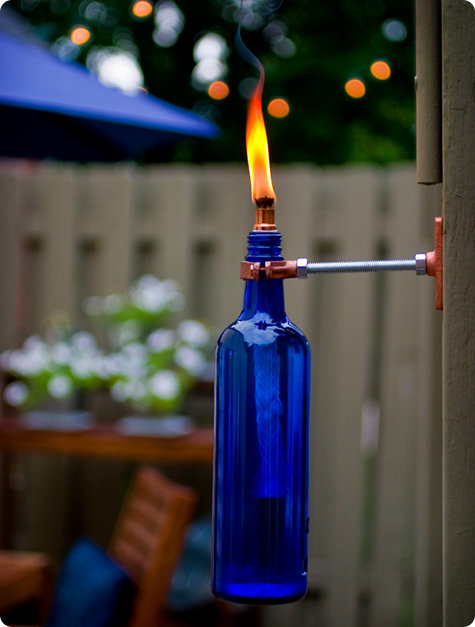 11 wine bottle tiki torch diys guide patterns for How to make glasses made from wine bottles