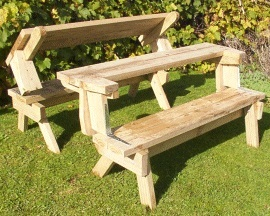 Outdoor Wooden Fold Up Picnic Table