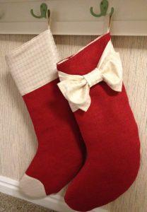 Red Burlap Christmas Stockings