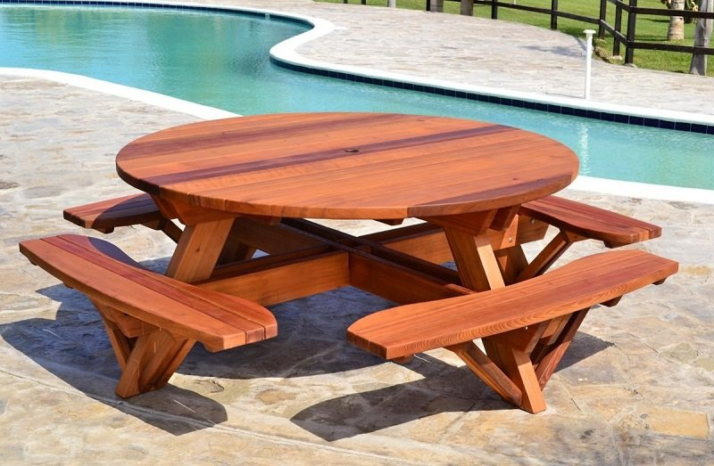 Round Wooden Picnic Table Free Plan