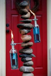 Wine Bottle Tiki Torch with Stand