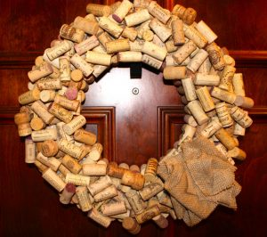 Wine Cork Wreath Burlap
