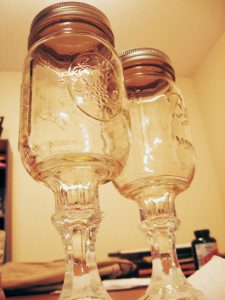 Engraved Mason Jar Wine Glasses