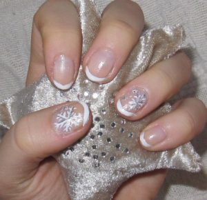 Snowflake French Nail Art