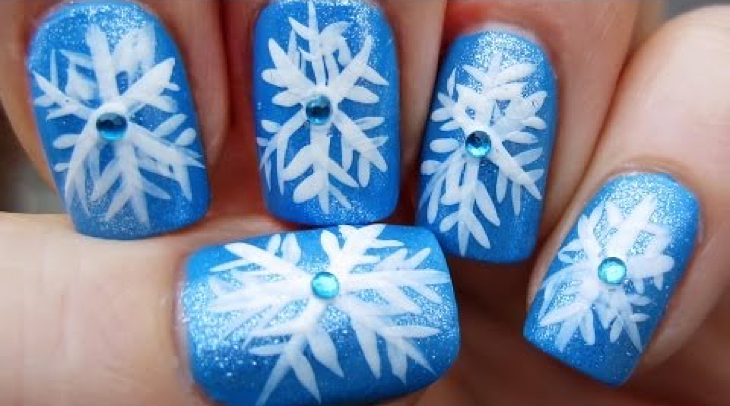 12 stunning snowflake nail art designs with tutorials guide patterns snowflakes nail art prinsesfo Images