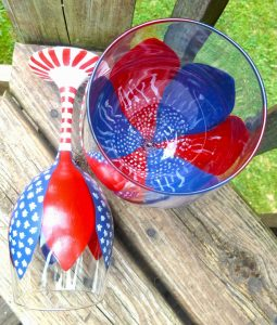 4th of July Painted Wine Glasses