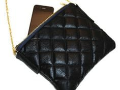 Black Quilted Leather Handbag with Chain Strap