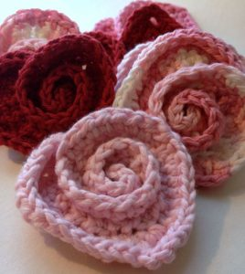 Crochet Rose Hearts