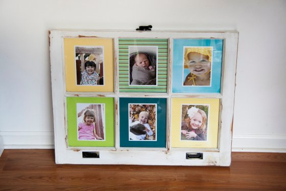 how to put pictures in a window frame