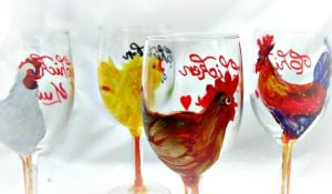 Funky Hand Painted Wine Glasses