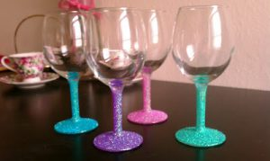 Glitter Painted Wine Glasses