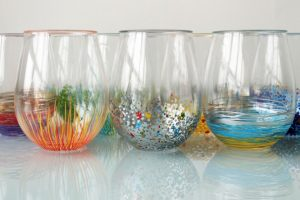 Hand Painted Stemless Wine Glasses