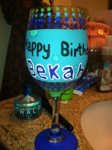 Hand Painted Wine Glass Design Idea
