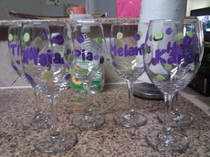 Hand Painted Wine Glasses for Bridesmaids
