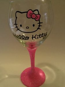 Hello Kitty Painted Wine Glass