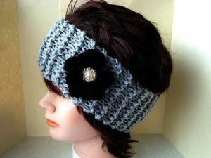 Knit Headband with a Jewel