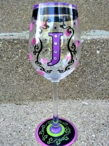 Painted Wine Glasses with Initials