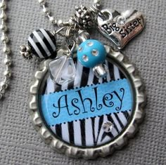 Personalized Bottle Cap Necklace Name