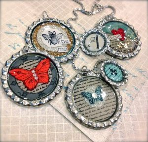 Stampin Up Bottle Cap Necklaces