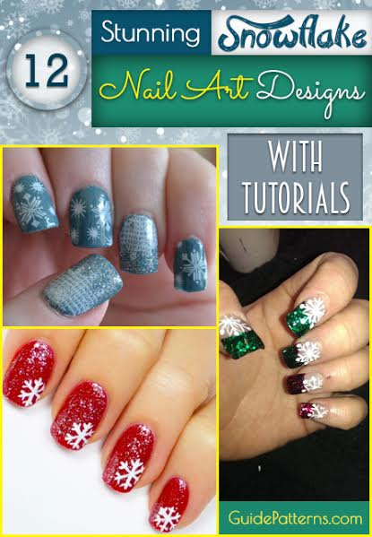 12 stunning snowflake nail art designs with tutorials guide patterns 12 stunning snowflake nail art designs with tutorials prinsesfo Image collections