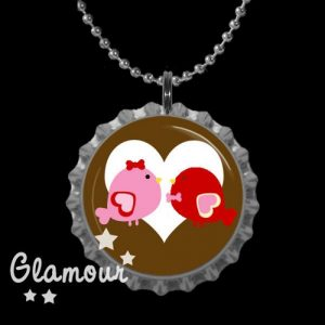 Valentine Bottle Cap Necklace