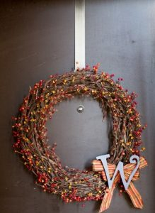 Berry Monogram Grapevine Wreath