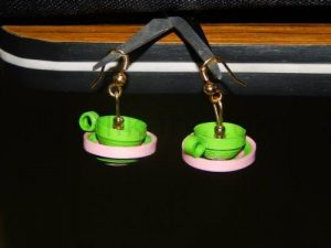 Quilling Earrings Cup and Saucer