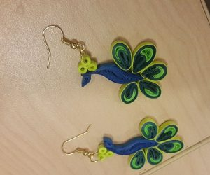 Quilling Earrings Peacock