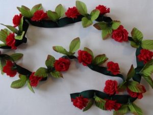 Rose and Leaf Garland on Ribbon