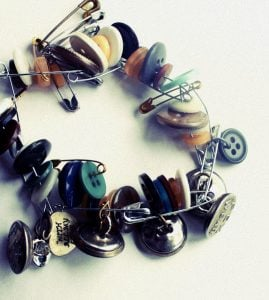 Safety Pin and Button Bracelet