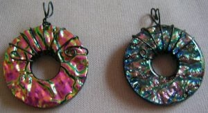 Wire Wrapped Dichroic Glass Pendants