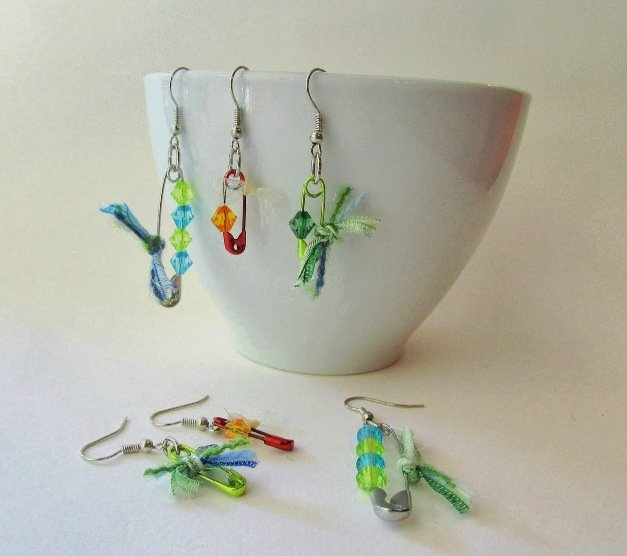 Crystal Safety Pin Earrings