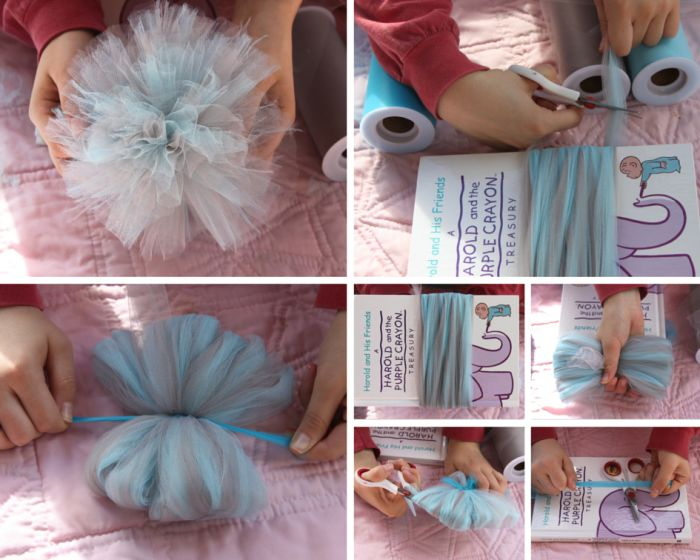 How to make tulle pom poms 16 fun tutorials guide patterns how to make a tulle pom pom solutioingenieria Images