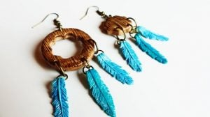 Polymer Clay Feather Earrings