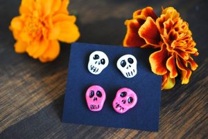 Polymer Clay Skull Earrings