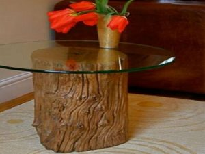 Tree Stump Coffee Table with Glass Top