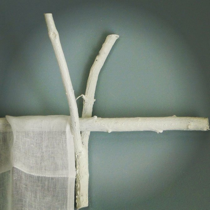 White Branch Curtain Rod