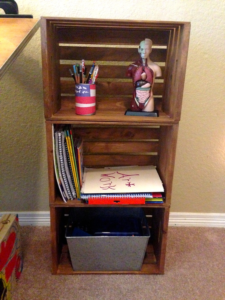 wood crate shelves - Using Crates As Bookshelves