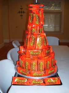Candy Bar Cake Tower
