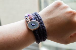 Knitted Button Bracelet