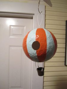 Paper Mache Balloon Bird Feeder