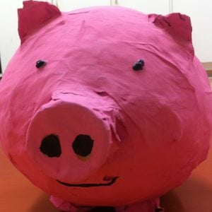 Paper Mache Balloon Piggy Bank
