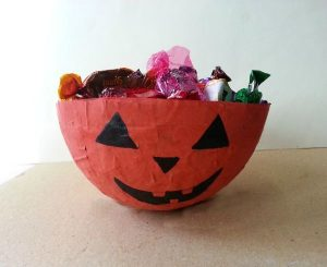 Paper Mache Halloween Candy Bowl