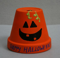 Decorating a Flower Pot for Halloween