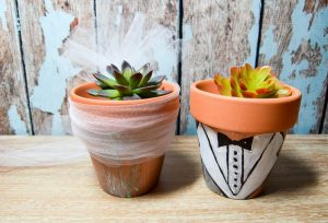 Decorating Flower Pots with Tulle