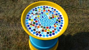 Painted Flower Pot Bird Bath