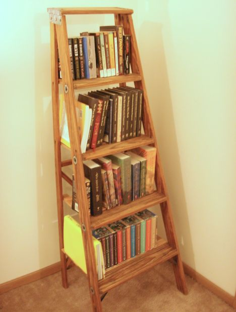 Wooden Ladder Shelf ~ Ladder bookshelf plans guide patterns