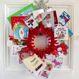 Clothespin Card Holder Wreath